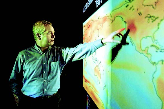 NCAR Scientist William Collins in the NCAR Visualization Lab